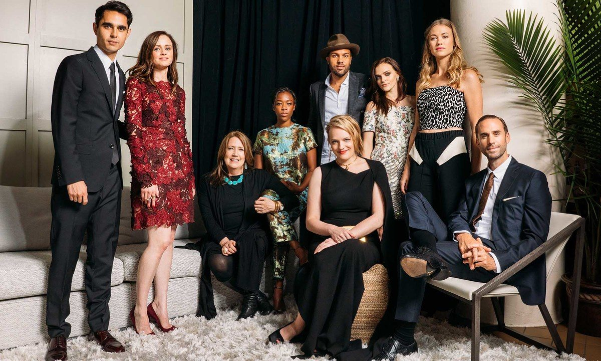 (L-R) Actors Max Minghella, Alexis Bledel, Ann Dowd, Samira Wiley, O-T Fagbenle, Elisabeth Moss, Madeline Brewer, Yvonne Strahovski, and Joseph Fiennes pose for a portrait at BMCC Tribeca PAC on April 21, 2017 in New York City. (Photo by Zack DeZon/Getty Images for Tribeca Film Festival)